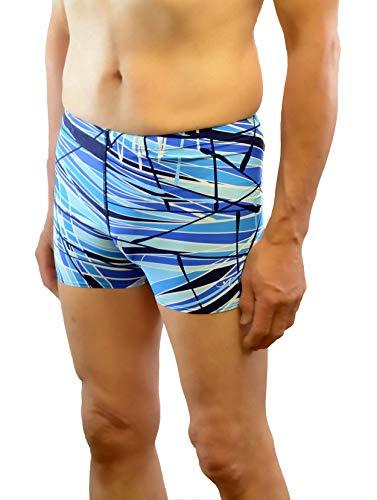 Adoretex Men's Printed Swim Brief Square Leg Shorts Swimsuit (MS004) - Blue Combo - 36