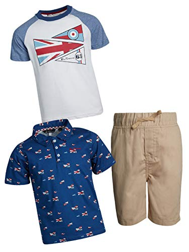 Ben Sherman Little Boys and Toddler 3-Piece Polo, T-Shirt, and Short Set, Khaki/Red/White, Size 5'