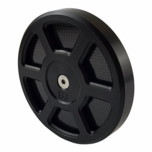 """Brass Balls Cycles Defender Black Air Cleaner Cover for 5.5"""" Harley and S&S Air Cleaners - Billet Aluminum with Carbon Fiber Inlays - Motorcycle Chopper Bobber"""