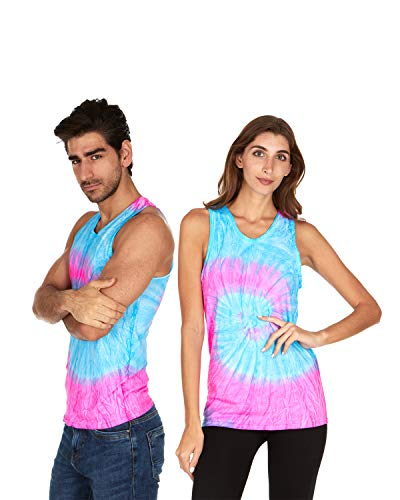 Tie Dye Tank Top Men Women - Fun Bright Colotful Tops, Flo Blue & Pink, Large