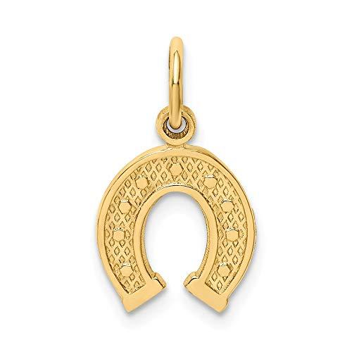 FB Jewels Solid 14K Yellow Gold Horseshoe Charm