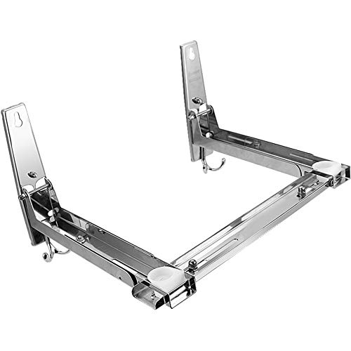 Homwel 304 Slide Groove Stainless Steel Microwave Mount Bracket,Stent Load 135lb,All Around on All Sides Telescopic Microwave Oven Wall Frame Removable Hook (Soportes Para Pared)