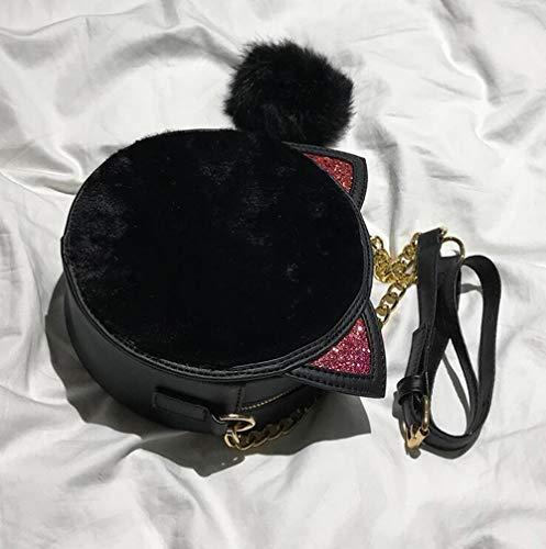 Mujer Mini Cadena Hombro Felpa Dibujos Bolso Black Bandolera Animados Billetera Un Lindo De Terciopelo grey ZqA50