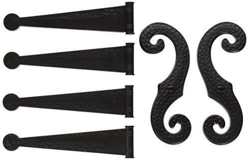 Shutter Hardware - Decorative Vinyl Shutter Hinges and S Holdback Hooks for Exterior Decorative Shutters, Black (Set)
