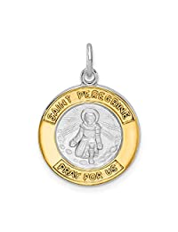 Sterling Silver Rhodium-plated and Gold Tone St Peregrine Medal Pendant