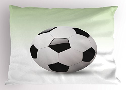 TINA-R Sports Pillow Sham, Vector Image of Football Soccer Ball Artwork with Green Ombre Background Image, Decorative Standard King Size Printed Pillowcase, 24 X 16Inches, Black and White by TINA-R