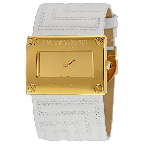 Gianni Versace V-Couture Gold Tone Stainless Steel/ White Leather Ladies Watch 71q70d999 s001
