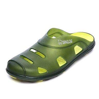 Los hombres sandalias zapatos agujero Confort Casual de resorte de goma azul verde amarillo Planas,amarillo Green