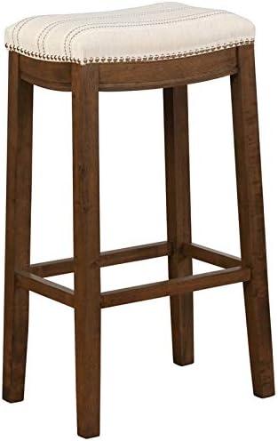 Linon Claridge 32.5 Upholstered Bar Stool in Natural Brown
