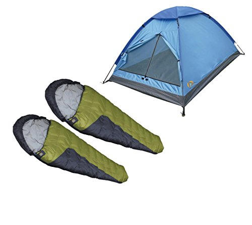 High Peak USA Alpinizmo 2 Sleeping Bags Plus 1 Monodome 3 Tent Combo Set, Green/Blue, Regular -