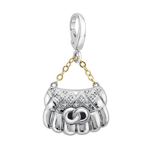 Purse Charm with Diamonds in Sterling Silver & 14K Gold