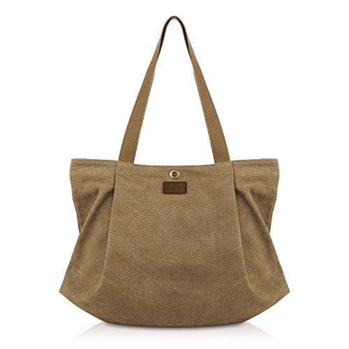 SMRITI Canvas Tote Bag for Women School Work Travel and Shopping – Coffee (Zip Tote Easy)