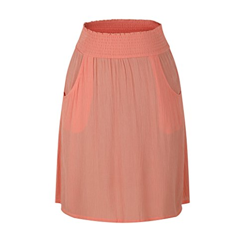 zhAjh Women's Rayon Crinckle Crepe Smoke Waistband Knee Length A Line Skirt with Pockets