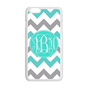 Turquoise Gray Chevron Zigzags Pattern & Initials Personalized Custom Best Plastic Hard Case for iPhone6 Plus (Only for 5.5 inches) ,Black or White for Choice