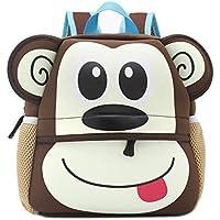 Shinybaby Little Kids Backpack 3D Animal Cartoon Waterproof Preschool Lunch Bag for Toddlers (Monkey)