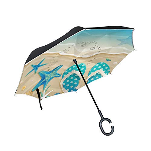 Premium Flip Flop Seat - THENAHOME Reverse Inverted Auto Open Umbrella Compact Lightweight Straight Umbrellas with Flip Flops Beach Elements for Car & Outdoor