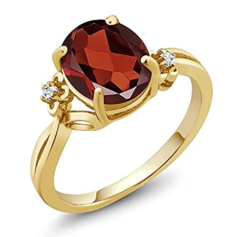 2.86 Ct Oval Red Garnet and Topaz Solid 14K Yellow Gold Women's Ring (Available in size 5, 6, 7, 8, (Ring Garnet Gold)