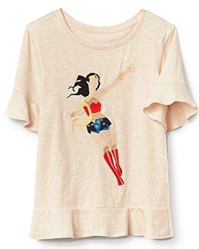 Gap Cotton Jersey - GAP Kids Girls Wonder Woman Beige Flutter Sleeve Shirt XXL 14 16