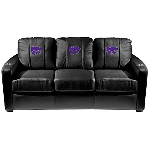 XZipit College Silver Sofa with Kansas State Wildcats Logo Panel, Black