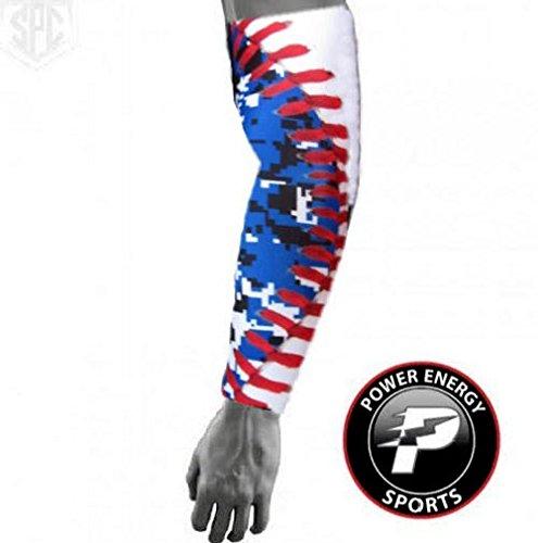 (Baseball Sports Compression Arm Sleeve (Youth Medium) - Royal Digital Camo Baseball Stitch)
