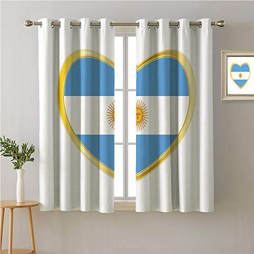Jinguizi Argentina Grommet Curtain Kids,National Republic Flag in Bordered with Heart Shape Figure,Light Darkening Curtains,72W x 72L
