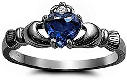 Claddagh Ring Irish Promise Ring Heart Simulated Blue Sapphire Black Rhodium Rhodium PL 925 Sterling Silver