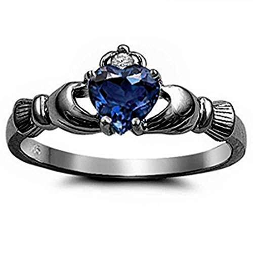 sapphire claddagh ring - 5