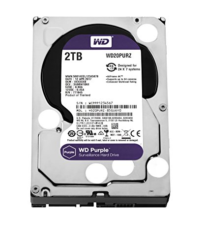 WD Purple 2TB Surveillance Hard Disk Drive - 5400 RPM Class SATA 6 Gb/s 64MB Cache 3.5 Inch - WD20PURZ by Western Digital