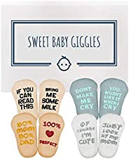 Baby Socks Gift Set - Unique Baby Shower or Funny Newborn Present | Cute Quotes 4 Pair