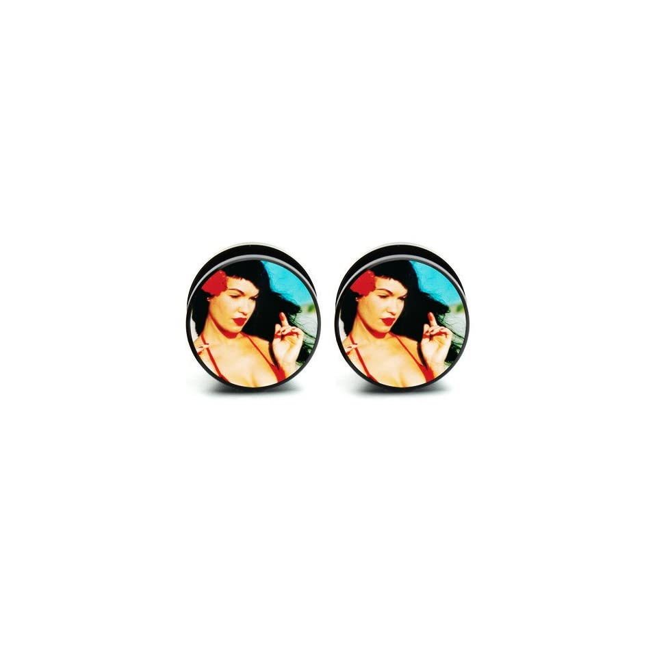 Pair of Acrylic Bettie Page ear plug gauges tunnel screw on 2G=6mm