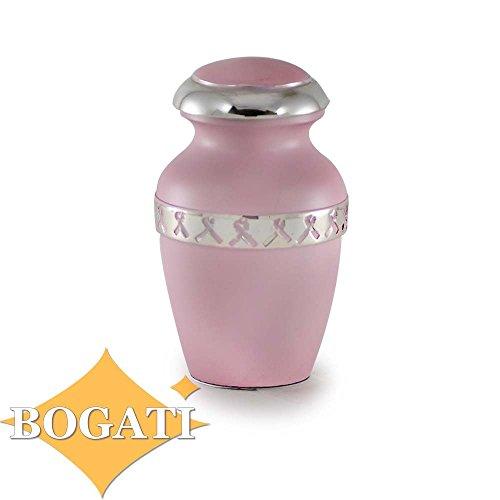Classic Brass Urn with Pink Ribbon - Keepsake - B-1970-K-NB 3 cubic inch 3 lb ()