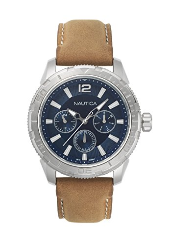 Nautica Men's 'SEATTLE' Quartz Stainless Steel and Leather Casual Watch, Color:Brown (Model: NAPSTL001)
