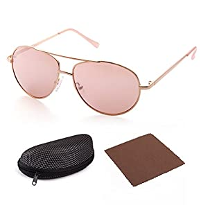 LotFancy Aviator Sunglasses for Kids Girls Children, Gold Metal Frame Lens, Pink Tinted Lens