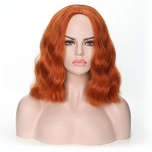 Rosa Star Short Wavy Wigs for Women Synthetic Heat Resistant Fiber Hair Wigs (Orange) -