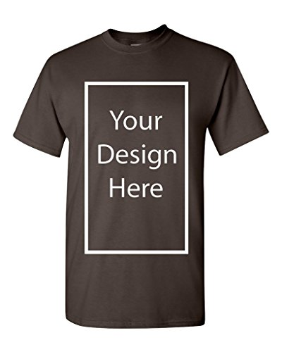 Add Your Own and Text Design Custom Personalized Adult T-Shirt Tee (Medium, Dark ()