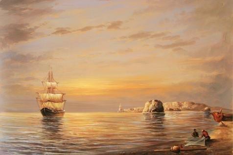 The Perfect Effectキャンバスの油絵「Fishing Boats off the coast at dusk `、サイズ8x 12インチ/ 20x 31cm、この美しいアート装飾プリントキャンバスは、フィットのロビーアートワークとホームデコレーションとギフトの商品画像