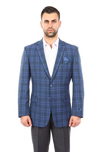 Sport Coat Madras (TAZIO Mens Jacket Modern Fit Madras Plaid Sports Coat Blazer)