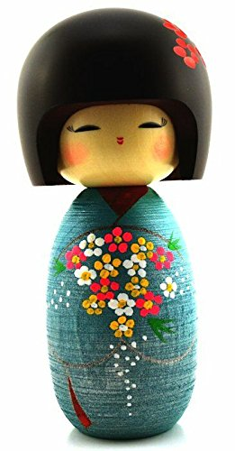 Flowers Japanese Kokeshi Doll 6.75 Inch
