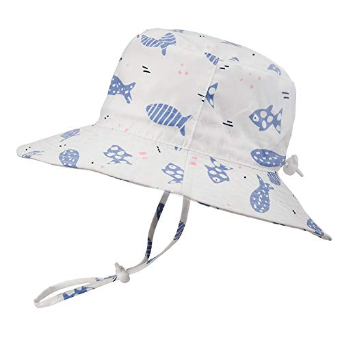Baby Sun Hat Adjustable - Outdoor Toddler Swim Beach Pool Hat Kids UPF 50+ Wide Brim Chin Strap Summer Play Hat(Fish,52cm) -