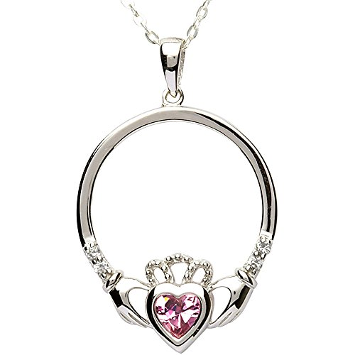 OCTOBER Birth Month Sterling Silver Claddagh Pendant LS-SP91-10. Made in IRELAND.