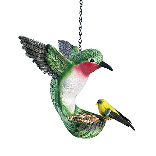 Hand painted Hummingbird Bird Feeder Green
