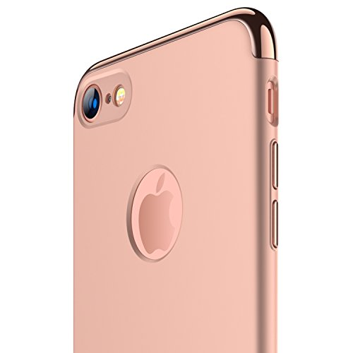 RANVOO iPhone 7 Case, Slim Fit Thin Hard Stylish Cover 3 in 1 Detachable Case, Rose Gold, [Clip-ON Series]