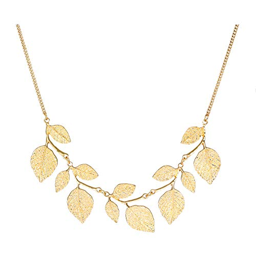 CENAPOG Bohemian Glitter Hammered Leaf Collar Necklace for Women Plant Necklace Chunky Tree Life Choker Necklace Vintage Sparkly Bib Necklace for Wedding Evening Party Fashion Jewelry - Necklace Vintage Chunky