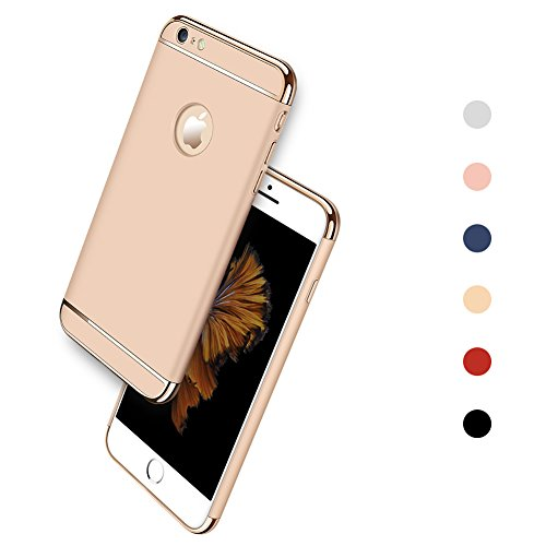 iPhone 6 / 6S Case, iPhone 6 Back Cover, Ultra Slim & Rugged Fit Shock Drop Proof Impact Resist Protective Case for iPhone 6 / 6S (4.7 Inch)- Gold Back Metal Frame