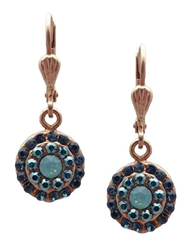 Catherine Popesco Pacific Opalescent Teal Midnight Mix Swarovski Crystal Round Pave Goldtone ()