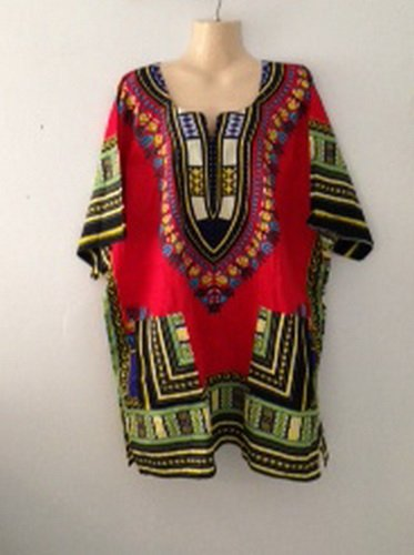 (Traditional Print Unisex Dashiki Caftan Top One Size - Many Colors Available,red)