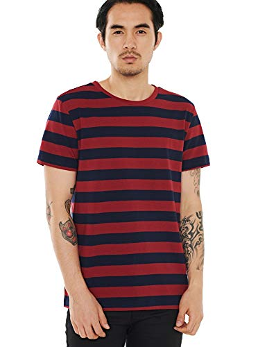 Zbrandy Striped T Shirt for Men Sailor Tee Horizontal Stripes Costume Navy Blue Red L