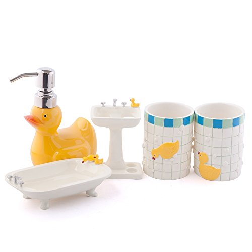 Brandream Cute Kids Bathroom Accessories Resin Bathroom Set,5Pcs,Duck