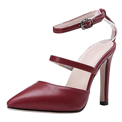 Claret Women Thin Sandals Ankle Heel Taoffen Strap 1fURxRn