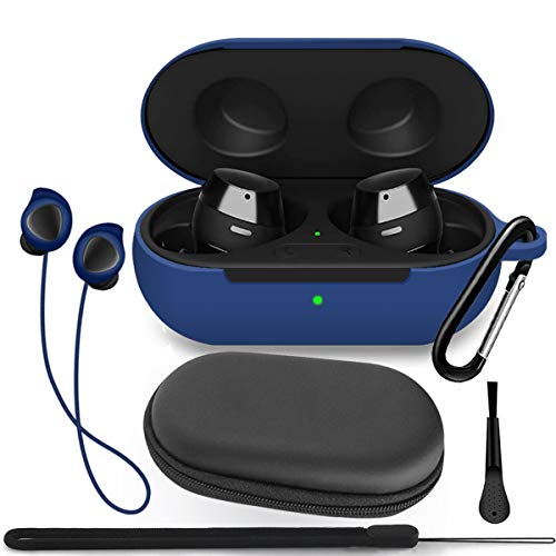 TOLUOHU Galaxy Buds 2019/Samsung Galaxy Buds+ Plus 2020 Case Cover, 6 in 1 Silicone Case Accessory Set, Protective Skin/Keychain/Anti-Lost Rope/Lanyard/Clean Brush/Storage Case(Blue)